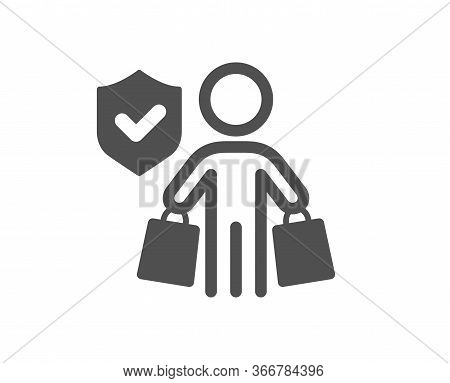 Buyer Insurance Hand Icon. Risk Coverage Sign. Shopping Protection Symbol. Classic Flat Style. Quali