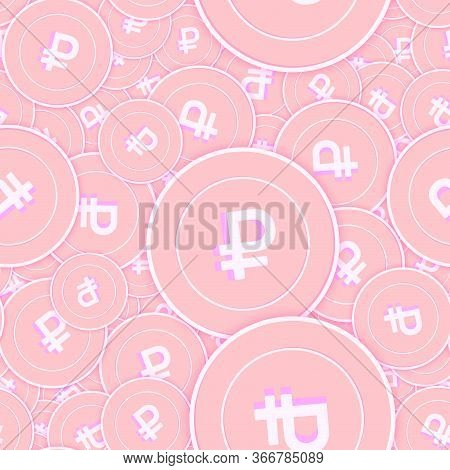 Russian Ruble Copper Coins Seamless Pattern. Glamorous Scattered Pink Rub Coins. Success Concept. Ru