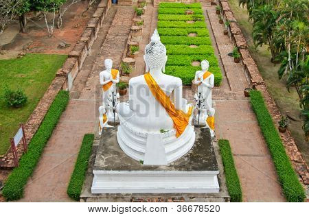 The White Buddha Statue At Ruined Old Temple