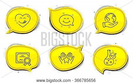 Yummy Smile Sign. Diploma Certificate, Save Planet Chat Bubbles. Chemistry Lab, Ranking And Smile Ch