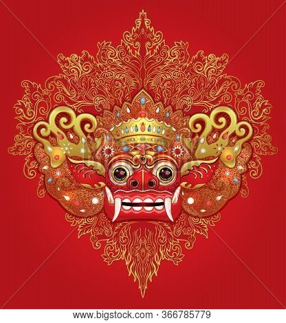 Barong. Traditional Ritual Balinese Mask. Vector Color Illustration In Red, Gold And Black Isolated.