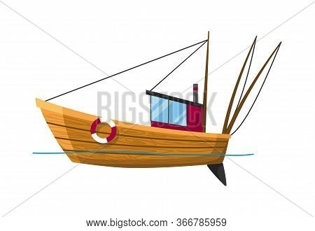 Fishing Boat Side View Isolated On White Background. Fishing Commercial Ship, Fisher Sea Boat For Oc