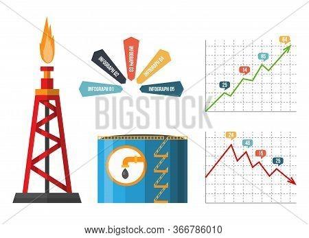 Oil Rig. Petroleum Elements. Process Of Oil Production And Petroleum Refining. Fuel. Flat Vector Ele