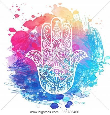 Ornate Hand Drawn Hamsa. Popular Arabic And Jewish Amulet. Vector Illustration Over Colorful Waterco