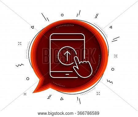 Swipe Up Tablet Pc Line Icon. Chat Bubble With Shadow. Scrolling Arrow Sign. Landing Page Scroll Sym