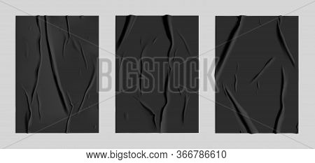 Black Glued Paper Set With Wet Wrinkled Effect On Gray Background. Black Wet Paper Poster Template S
