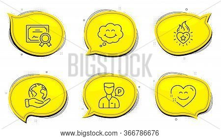Valet Servant Sign. Diploma Certificate, Save Planet Chat Bubbles. Heart Flame, Smile And Smile Chat