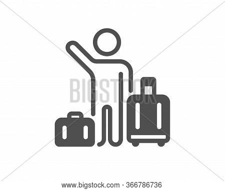 Baggage Reclaim Icon. Airport Transfer Sign. Flight Bags Symbol. Classic Flat Style. Quality Design