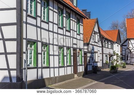 Street With Half Timbered Houses In The Old Village Westerholt, Germany
