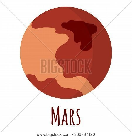 Mars Planet For Logo, Outer Space, Symbol. Transparent Shadow And Lettering.