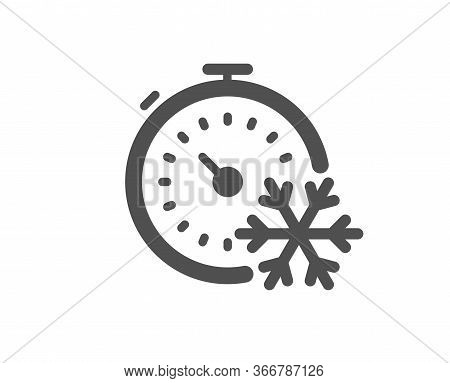 Freezing Timer Icon. Ac Cold Temperature Sign. Fridge Function Symbol. Classic Flat Style. Quality D