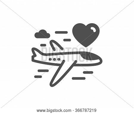 Honeymoon Travel Icon. Love Trip Sign. Valentines Day Flight Symbol. Classic Flat Style. Quality Des