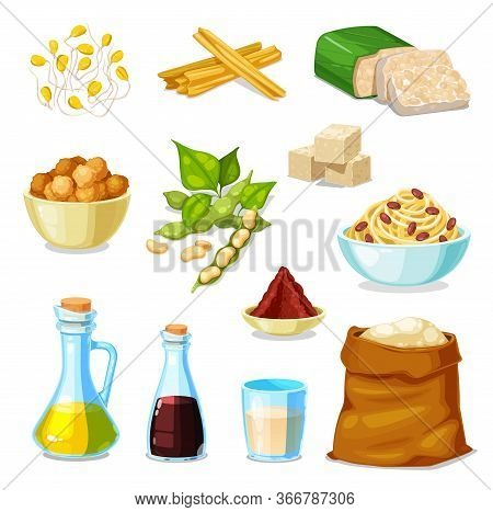 Soy Bean Food Product Vector Set With Legume Soybeans, Tofu And Tempeh, Oil, Sauce And Milk. Vegetar