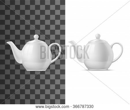 Realistic White Porcelain Teapot With Lid Solated 3d Vector Mockup. Modern Tableware Crockery Pot Fo