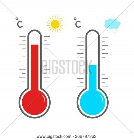 Thermometer Icons. Hot And Cold Temperature. Symbol Meteorology And Weather. Measurement Of Heat For