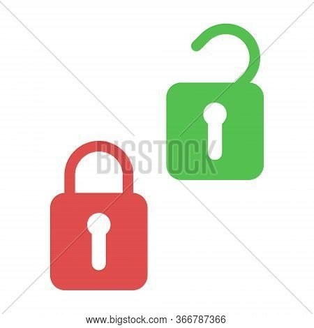 Lock And Unlock. Icons Of Open And Closed Padlock. Security With Key Or Password. Lock For Door Or S