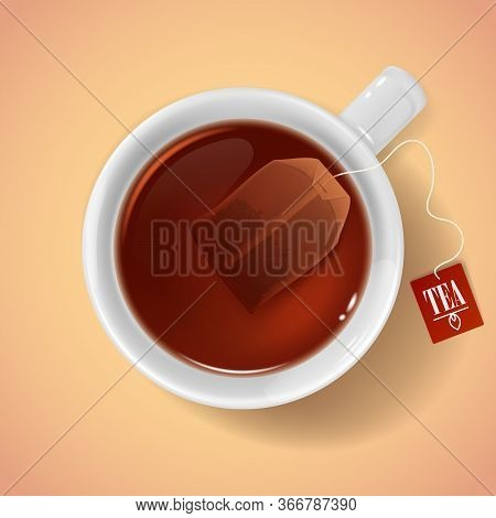 Cup With Tea Bag Top View. Realistic 3d Vector White Porcelain Or Ceramic Cup With Hot Drink And Tea