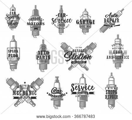 Automobile Spark Plugs Types Isolated Vector Icons With Typography Set. Monochrome Car Ignition Syst