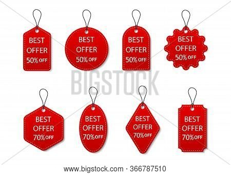 Tag Of Sale. Red Label Of Discount And Price. Design Promotion Banner. Set Ribbon Of Best Offer. Spe