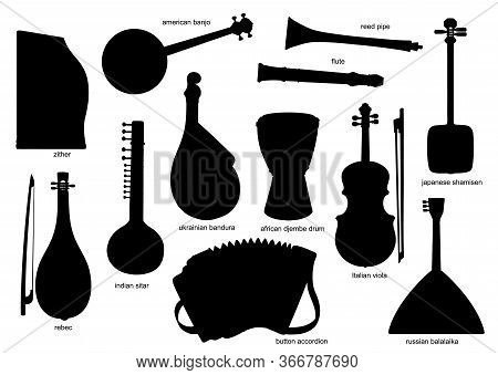 Black Silhouettes Of Musical Instruments. Isolated Vector Zither, American, Banjo And Reed Pipe, Flu