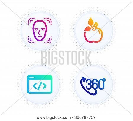 Face Detection, Seo Script And Eco Food Icons Simple Set. Button With Halftone Dots. 360 Degree Sign