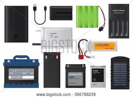 Rechargeable Batteries. Isolated Vector Lithium And Solar Accumulator Batteries, Charger And Power B