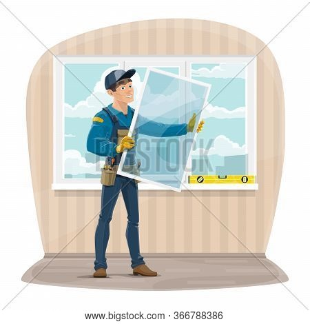 Plastic Windows Install And Repair Service. Installer Worker In Uniform With Tools Holding A New Gla