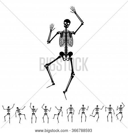 Happy Dancing Skeletons On Halloween. Set Of Different Dance And Gymnastics Skeleton Poses. Vector F