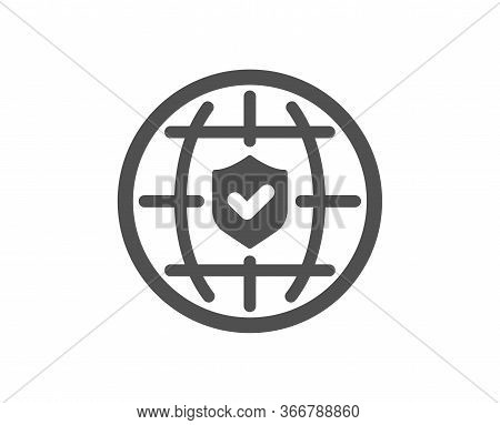 Global Insurance Icon. Travel Risk Coverage Sign. Policyholder Protection Symbol. Classic Flat Style