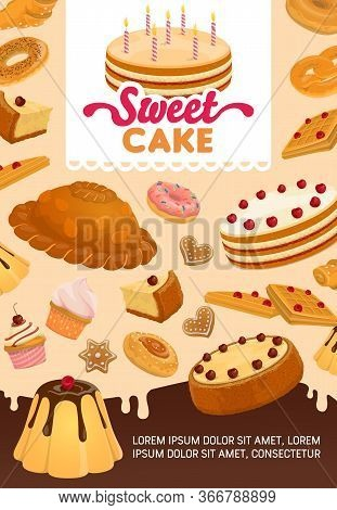 Bakery And Pastry Desserts Vector Poster. Sweet Pie With Candles, Gingerbread And Donut, Pretzel And