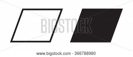 Parallelogram Icon, Vector Geometric Square Rectangle Polygon Line Shape Silhouette