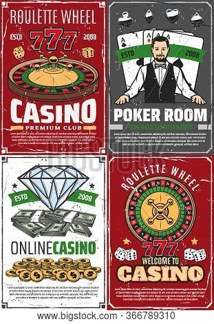 Casino Fortune Roulette And Croupier Retro Posters. Vector Poker Room, Gambling Game Vintage Grunge