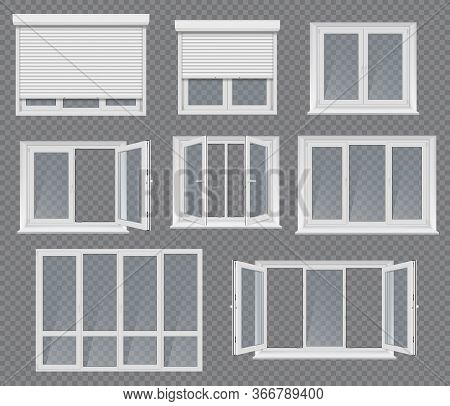 Plastic Windows, Frames And Jalousie. Realistic Vector 3d Windows Two, Three Or Four Sections With H