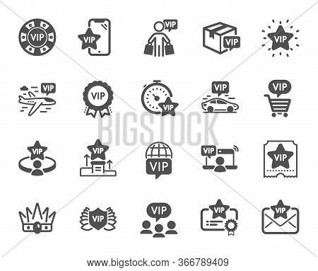 Vip Icons. Casino Chips, Very Important Person, Delivery Parcel. Certificate, Player Table, Vip Buye