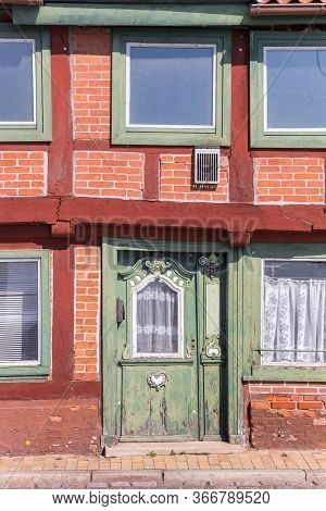 Front Door Of A Half Timbered House In Lauenburg, Germany