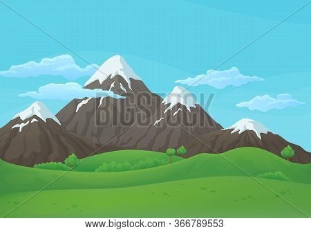 Summer, Spring Day Vector Background. Snowy Mountain Range With Green Fields, Hills And Blue Sky Wit