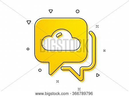 Clouds Sign. Weather Forecast Icon. Cloudy Sky Symbol. Yellow Circles Pattern. Classic Weather Forec