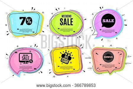 Weekend Sale. Big Buys, Online Shopping. Special Offer Price Sign. Advertising Discounts Symbol. Quo