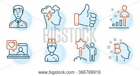 Businessman Person, Star And Friends Chat Signs. Doctor, Mindfulness Stress And Bitcoin Think Line I
