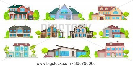 Real Estate Private Buildings, Villas, Cottages And Bungalow Exterior Cartoon Icons. Vector Resident