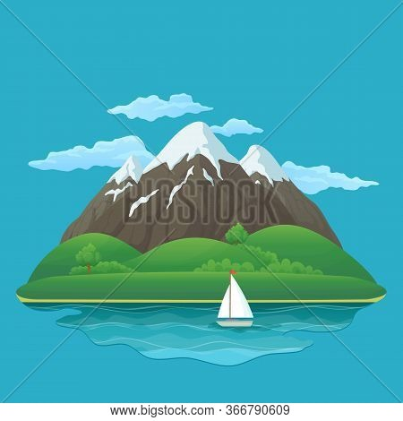Summer, Spring Day Vector Icon. Three Snowy Mountains With Green Hills, Lush Green Trees And Bushes,