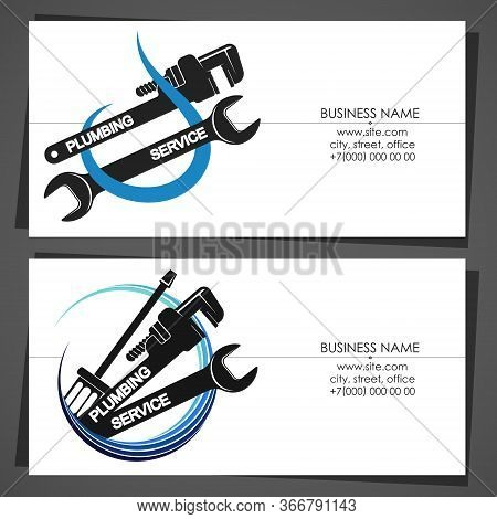 Business Card With A Drop Of Water And Wrench For Plumbing Repairs