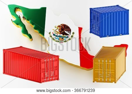 3d Map Of Mexico. Freight Shipping In Containers. Export From The Country In Containers. 3d Renderin