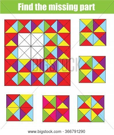 Find Missing Part And Complete Picture. Puzzle Educational Game For Children And Kids.