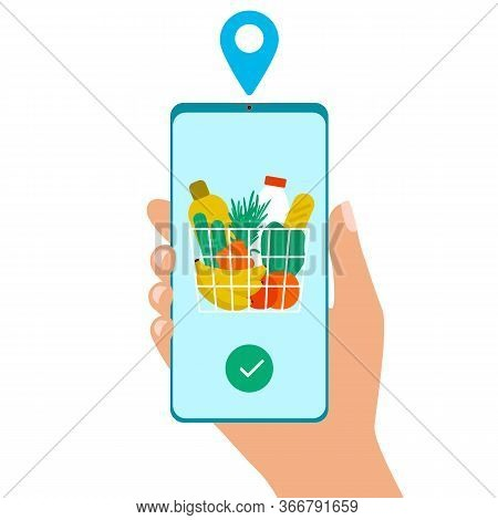 Grocery Delivery At Home. Hand Hold Smartphone App For Shopping Goods. Shopping Cart For Buyer With