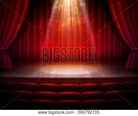 Stage With Red Curtains, Spotlight And Seats Vector Background Of Theater Or Theatre, Cinema, Movie,
