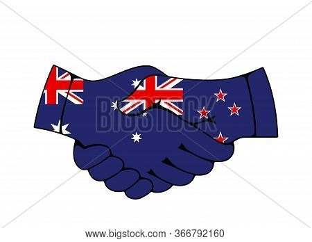 Handshake Of Australia And New Zealand Country Flags, Vector Partnership And Trans-tasman Relationsh