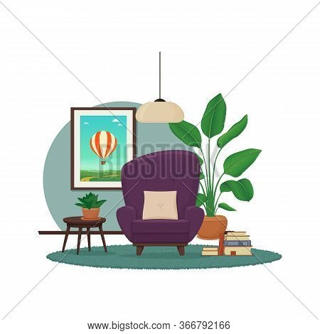 Living Room Interior Design. Cozy Purple Armchair With A Rug, Side Table With House Plants, A Stack