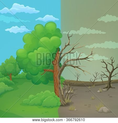 Cartoon Tree Split In Half On A Divided Background. Healthy Leaved Part With Green Meadow, Bushes An