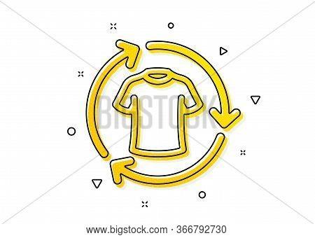 Shirt Sign. Change Clothes Icon. Clothing T-shirt Symbol. Yellow Circles Pattern. Classic Change Clo